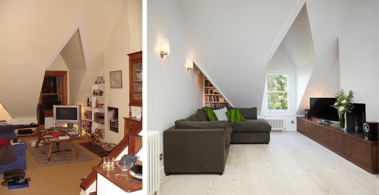 Before and after london loft conversion sitting room Before and after interior design projects