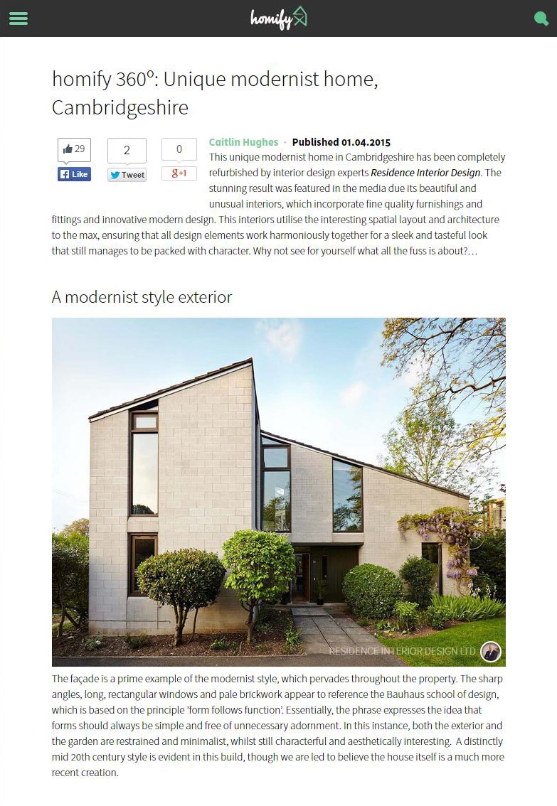 press homify feature modern home screenshot