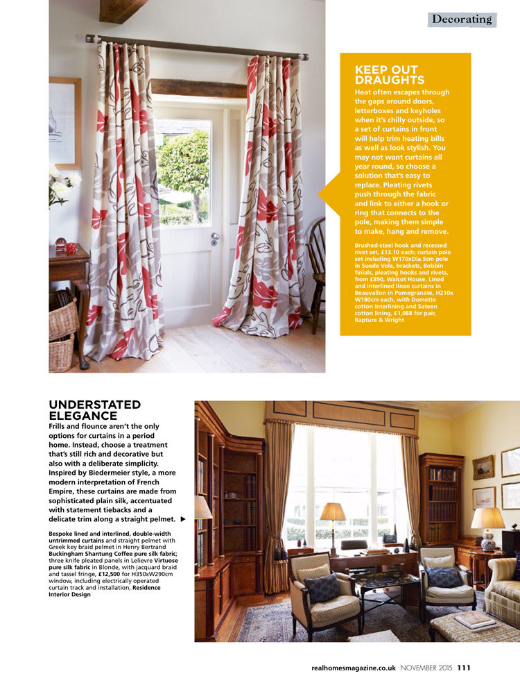 Real homes november 2015 residence interior design for Home interior design london