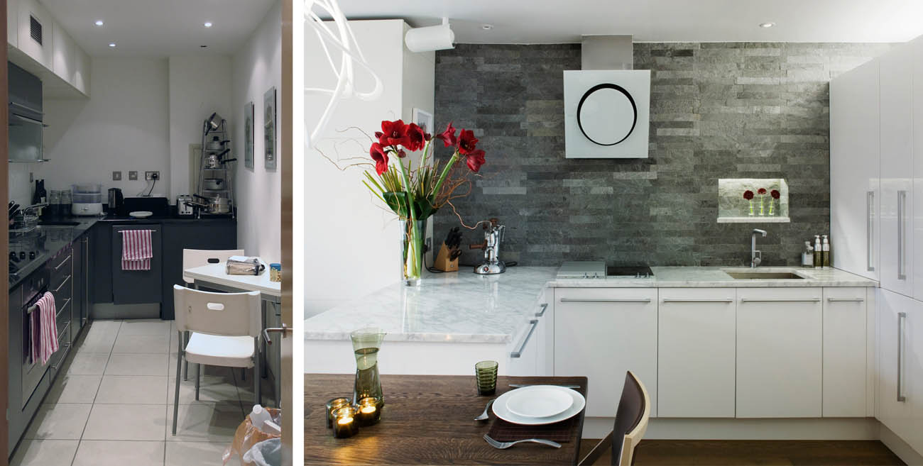 Before and after contemporary london kitchen redesign residence interior design london Kitchen design courses in london