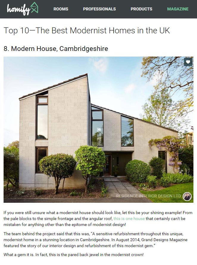 screenshot of homify feature on the best modernist homes in the UK