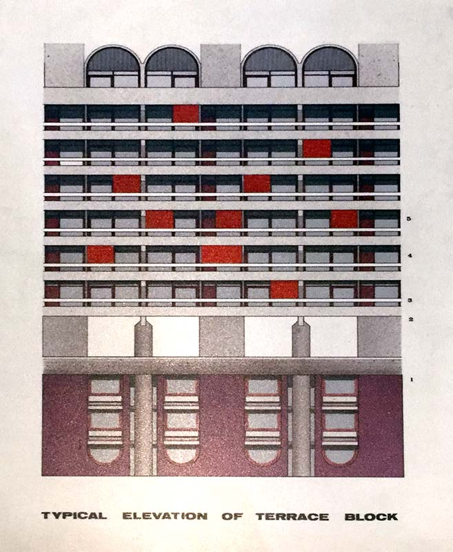 barbican original drawing elevation