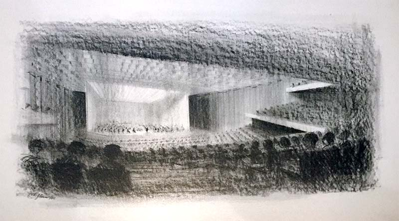 barbican original sketch for auditorium design