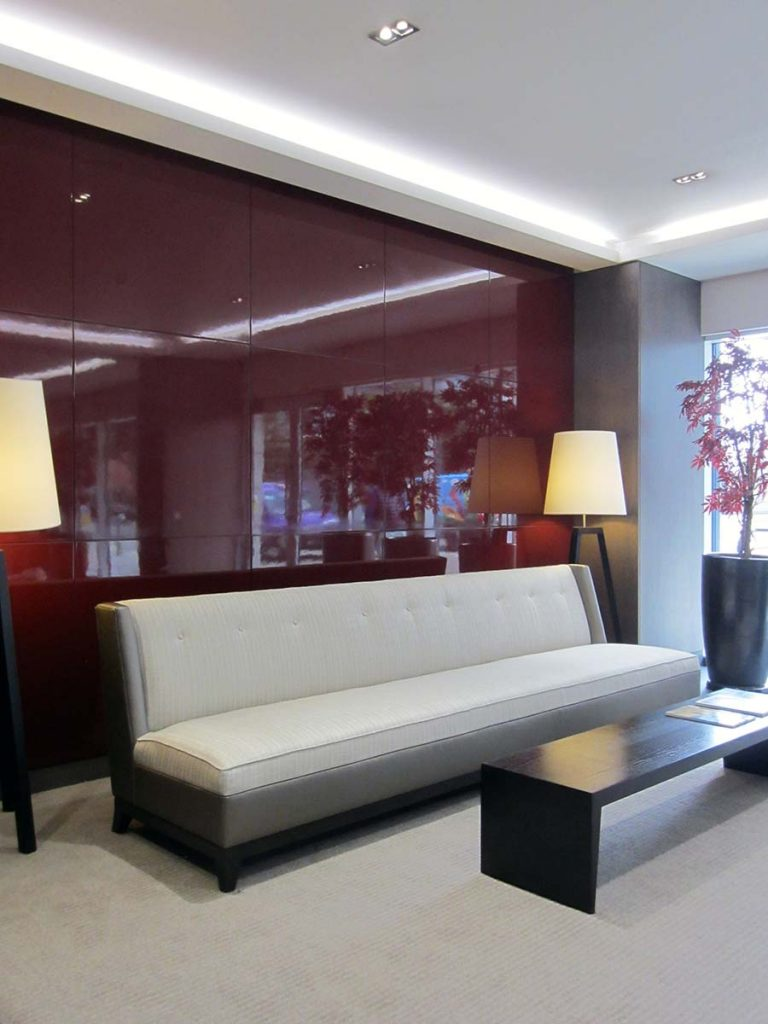 interior design of reception at imperial wharf in london
