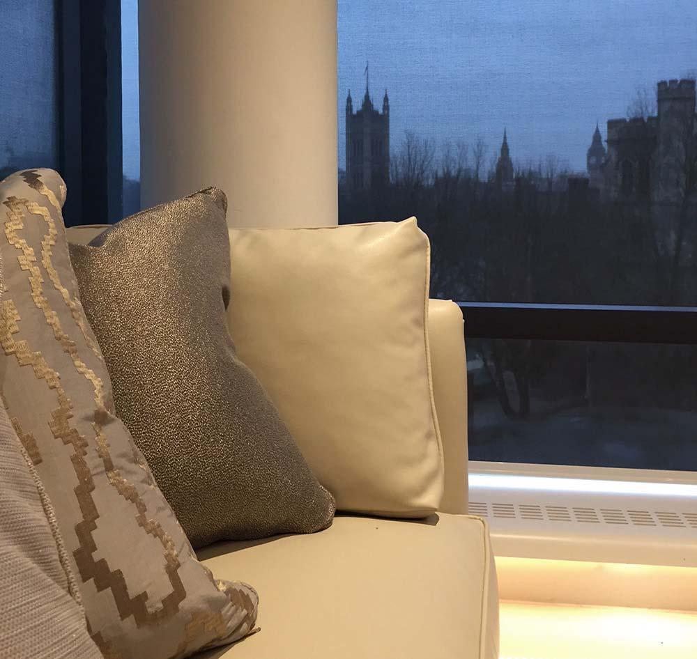 London design project sofa accessories fabrics