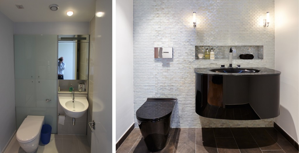 Before and after shots of London penthouse powder room interior design project
