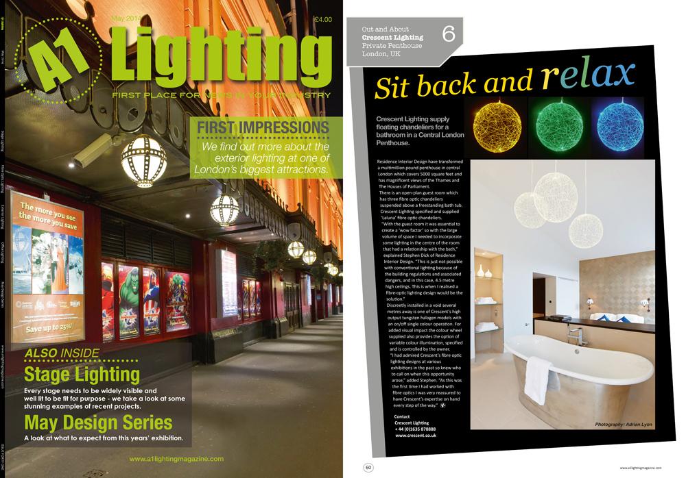 London lighting design published in A1 Lighting Magazine
