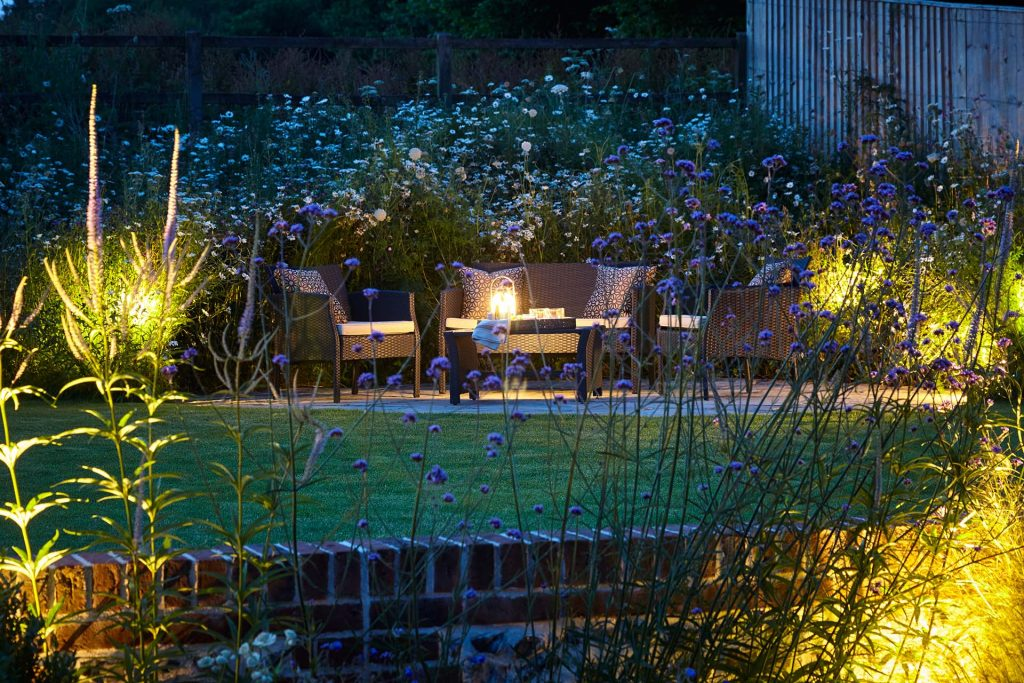 Hampshire landscape terrace led lighting design
