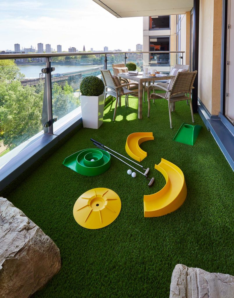 London Chelsea riverside apartment balcony astroturf
