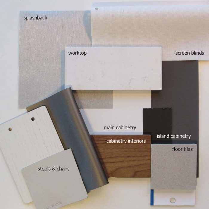 Presenting fabrics and finishes for our interior design projects