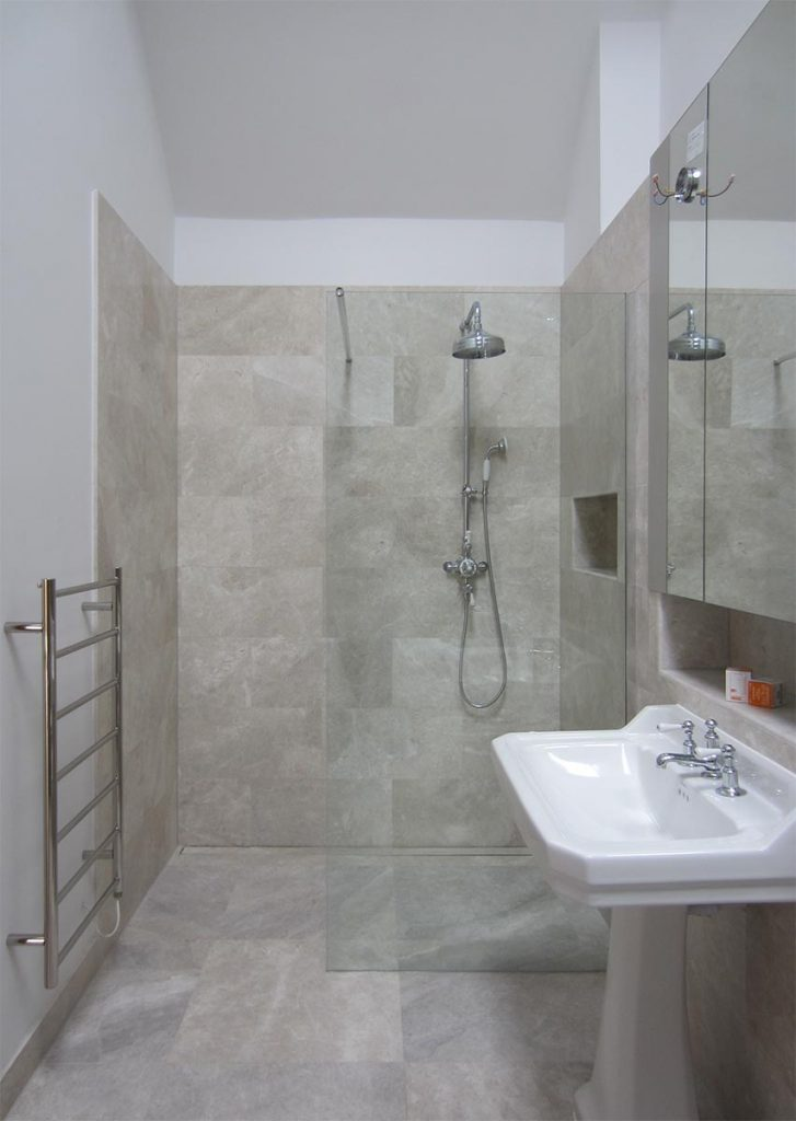 surrey bathroom limestone wetroom shower