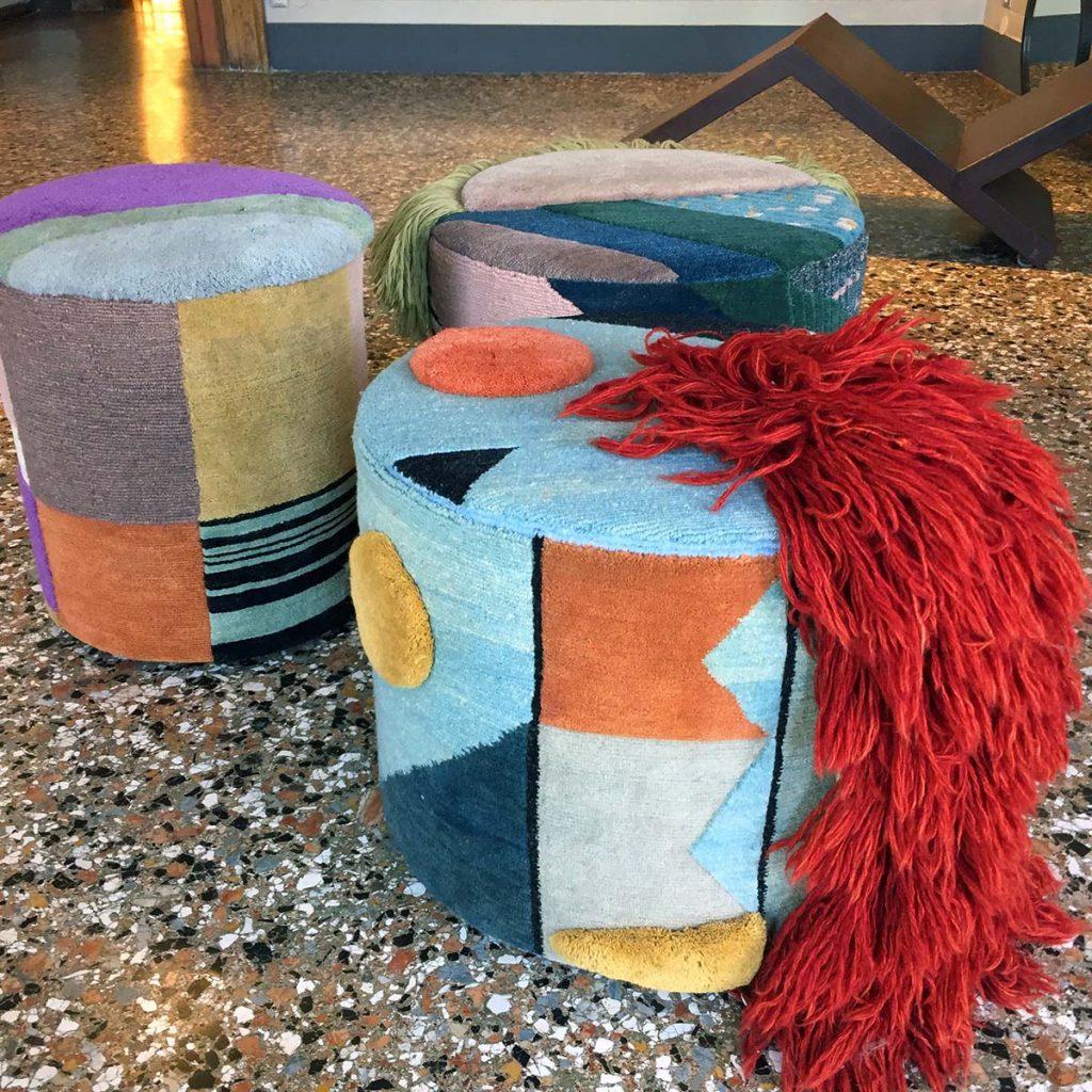 venice design carpet pouf characters
