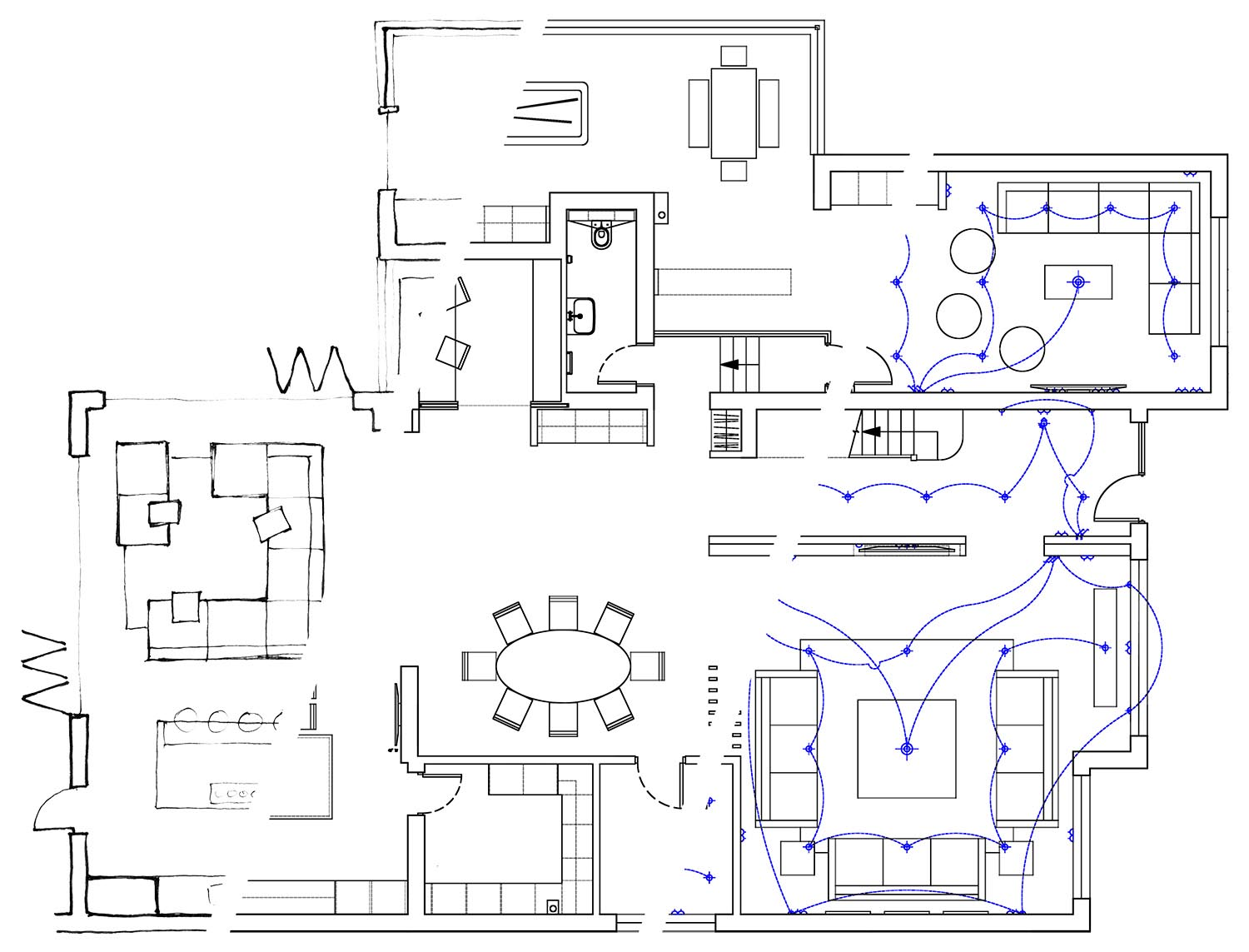 interior sketch cad plan lighting design