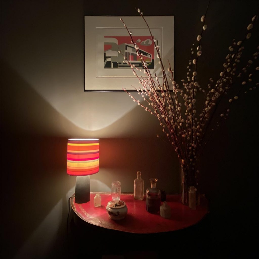 conran table lamp linocut art