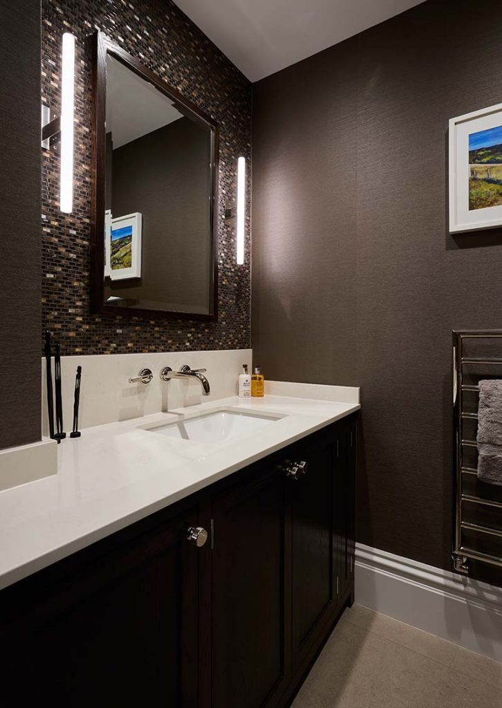 Oxfordshire luxury cloakroom mosaic lighting cabinetry