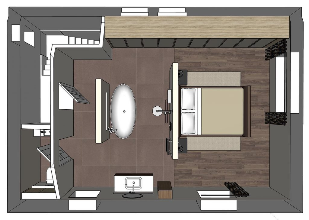 sketchup master suite open plan layout