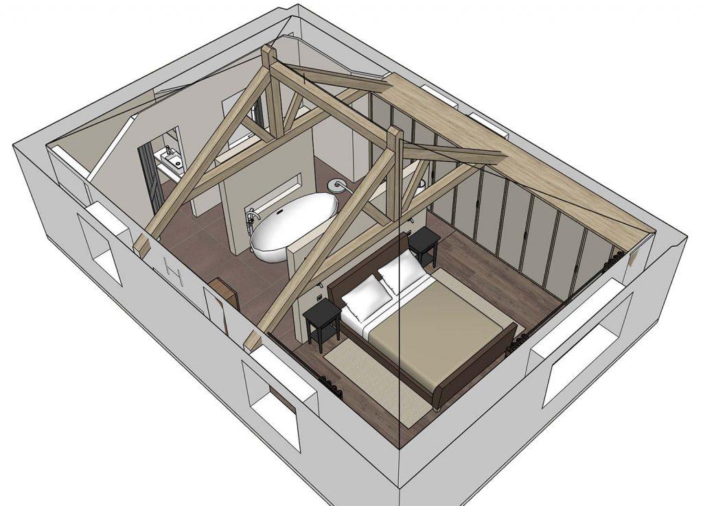 sketchup master suite open plan perspective